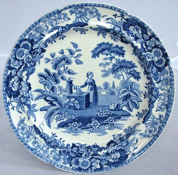 Spode \u0027Girl at the Well\u0027 pattern earthenware plate transfer printed in blue c.1823. Spode are credited with introducing this pattern which was copies by ...  sc 1 st  History of Spode & History of Spode
