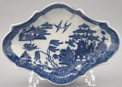 Spode Devonia Shape Dessert Dish C 1800 Printed In Willow Pattern 27 5cm Impressed Mark